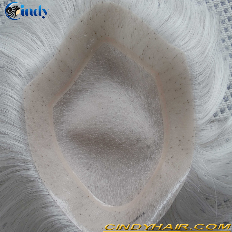top quality swiss lace gray color indian remy human hair men toupee hairpiece