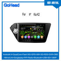 For Kia K2 Car GPS Radio Navigation Android4.4 Quad Core GPS Wifi 3G RDS DVR OBD Google play PIP Bluetooth USB