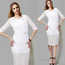 Z60892Y European Fashion Plain White Plain Blackj Dress Bandage Dress Pencil Dress