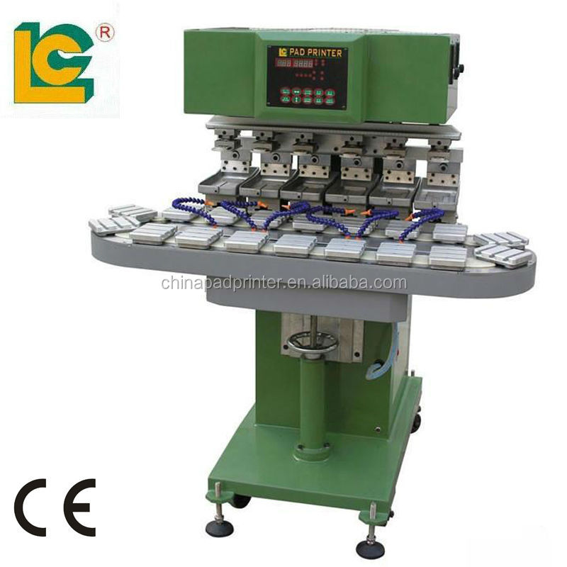 Six Colour Closed ink Cup Pad Printer/coloured pad printing machine price