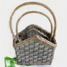 Best selling outdoor grey wood chip wicker basket for plants