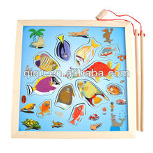 2013 Best selling wooden puzzle magnetic fishing toy for children