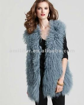 Mongolian Lamb Fur Vest Jacket New Fashion Curly Mongolian Lamb Fur Vest Jacket