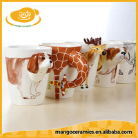 Creative hand painted animal shaped ceramic coffee mug