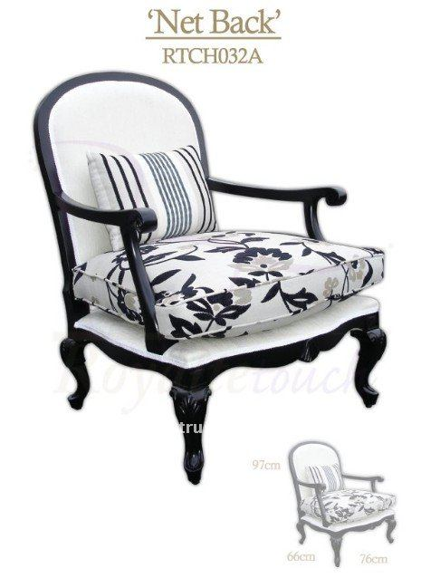 Black Flower Pattern Handmade Classic Wooden Chairs with Arms