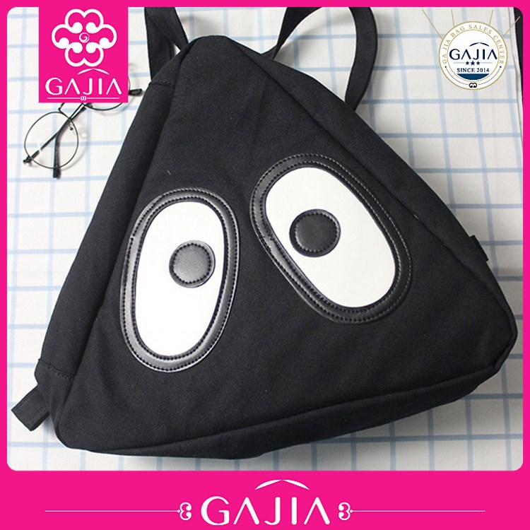 2015 cute beautiful triangle canvas school bag wholesale