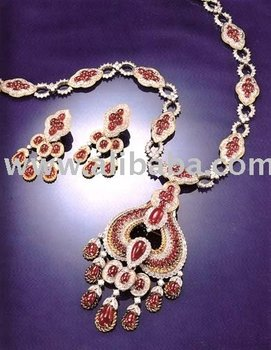 925 Sterling Silver Ruby & Zircon Necklace Set