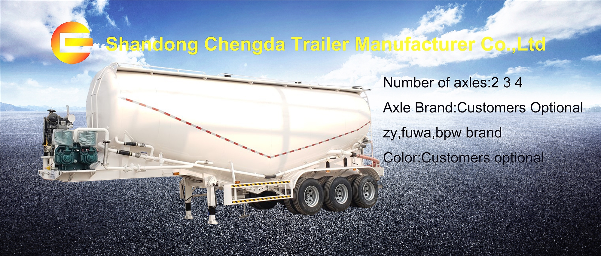Low price carbon steel stainless steel aluminium alloy transport 3 4 5 axle fly ash powder bulk cement tank semi trailer