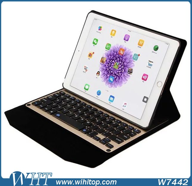 Hot Sale Bluetooth Aluminum Keyboard Leather Case for iPad Pro 9.7