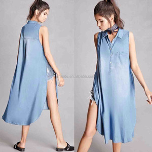 Sleeveless Top Collared Denim Tunic Tops Blouses Wholesale Custom Made in China Sexy Denim Tops