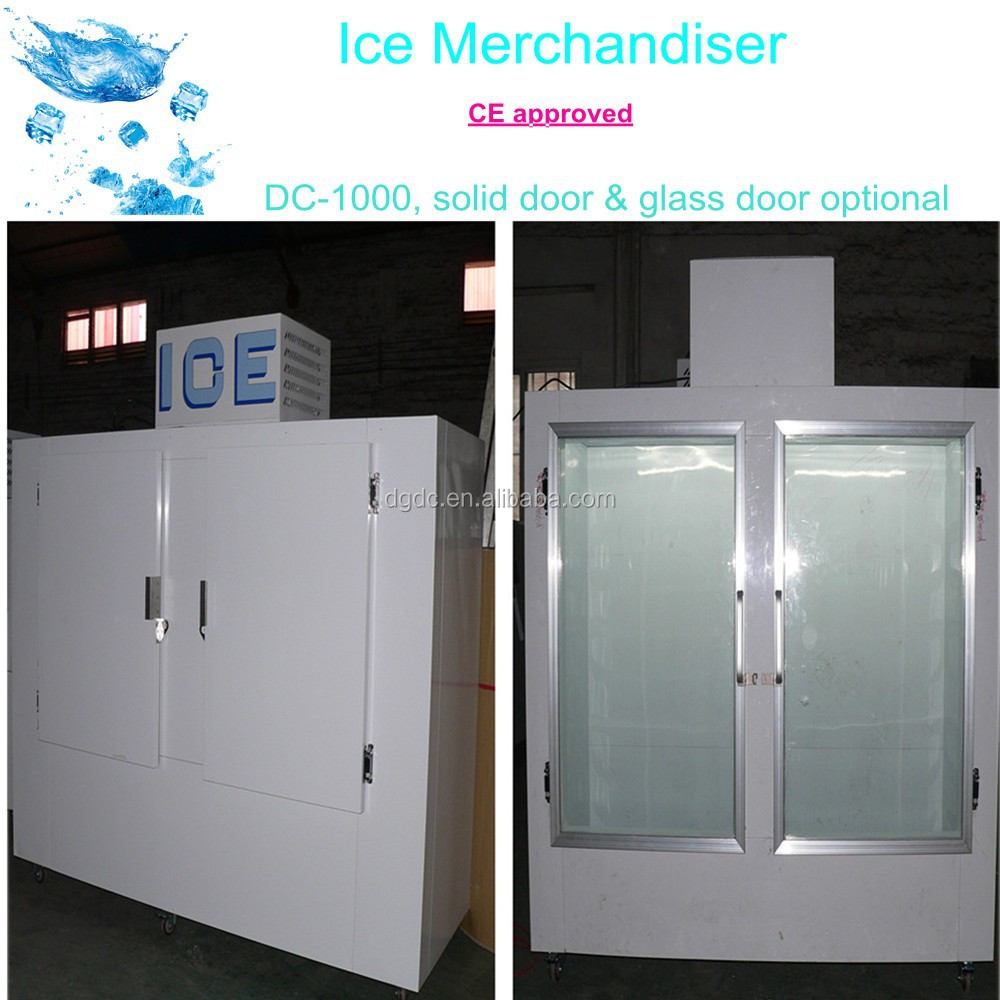 Gas Station Bagged Ice Storage Freezer With 2 Glass Door