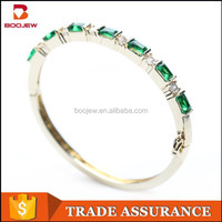 2015 New fashion jewelry hallmark women gold plated silver bangles with emerald