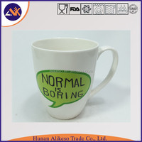Fashion and large new bone china ceramic coffee mug with English letters, top sale ceramic decal mugs with handle