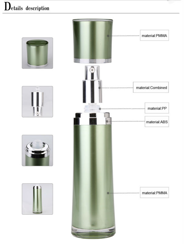 plastic green color airless bottle for serum