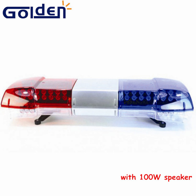 48inch Red blue high power police warning led strobe emergency lightbar with 100W speaker