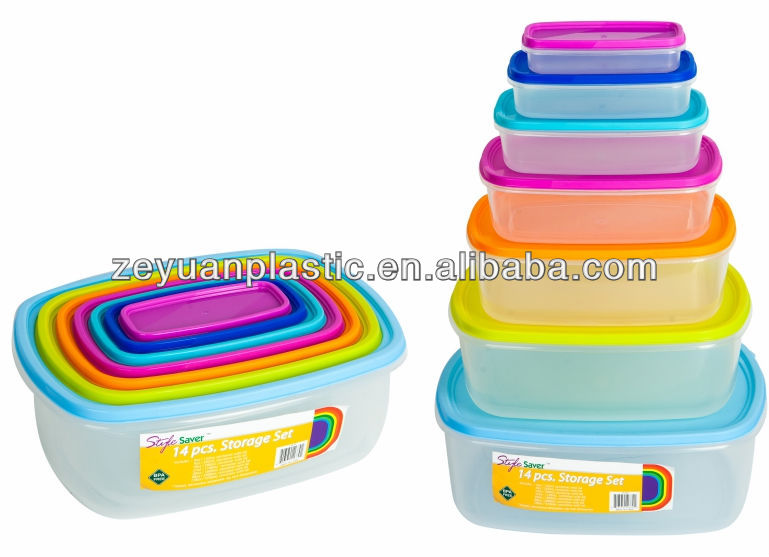 Hot Sales 14pcs Plastic Colorful Lids Container