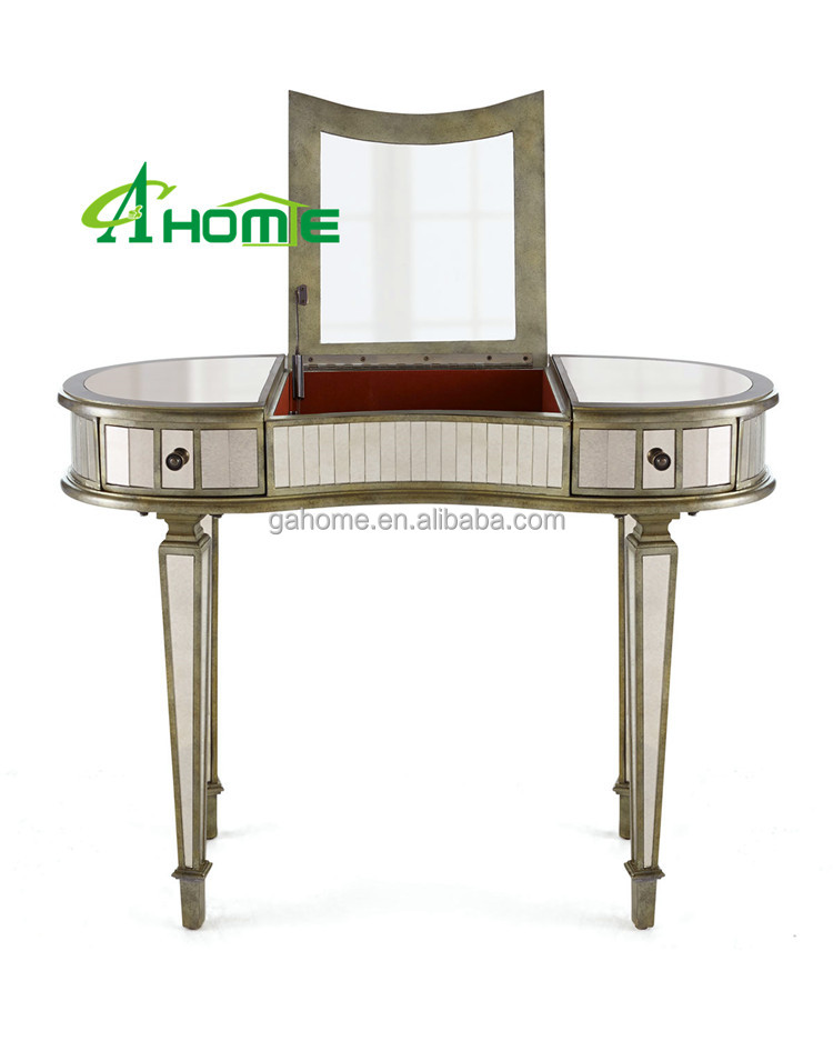 French antique style with 2 drawers and make up mirror bedroom decor mirrored dressing table desk