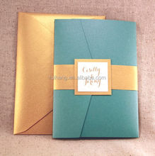 lovely teal peacock blue pocket-folding wedding invitation card with gold on ivory