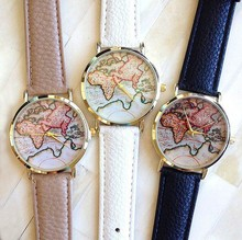 zly488 New Vintage Earth World Map Watch Alloy Women Men Analog Quartz Wrist Watches