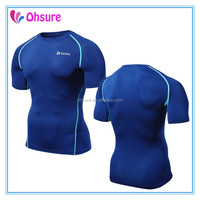 polyester/spandex mens shorts sleeve compression t shirt compression wear