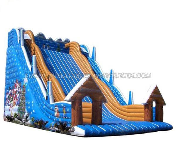 Happy Christmas Inflatable Slide, inflatable water slide, Christmas house Inflatable bouncer slide C1011