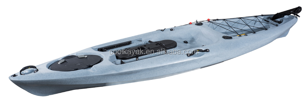 Hot selling no inflatable sit on top plastic single for Fishing kayak with foot pedals