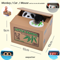 Custom Plastic Itazura Panda Coin Bank Monkey Coin Bank Cat Mouse Pig Coin Bank Wholesale