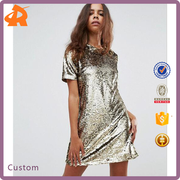 custom new design silver fashion dress,short sleeve sequin party dress for girls