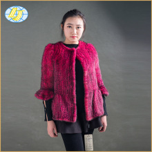 Wholesale new products fashion luxury knitted mink fur rose pink coat