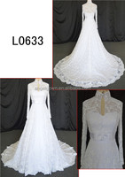 high neck and long sleeve muslin A-line lace wedding dress