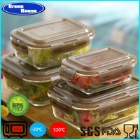 Rectangular Glass Food Container Plastic Lid Storage
