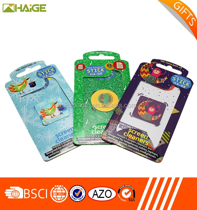 Microfiber cleaning cloth sticker/custom printed phone screen cleaner/adhesive mobile screen cleaner