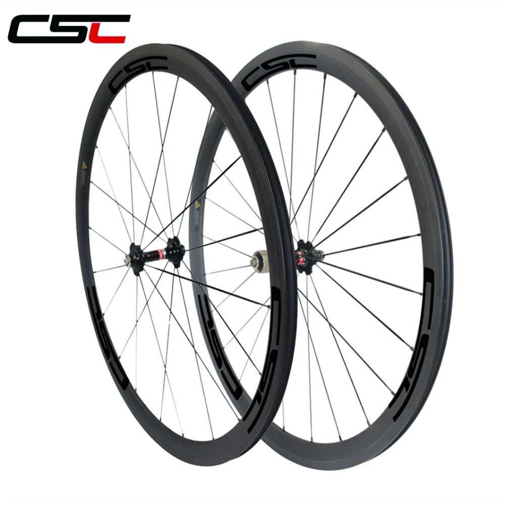 <strong>U</strong> Shape 25mm Width 38mm Tubeless Carbon Fiber Road Bicycle Wheel Racing Bike Wheelset
