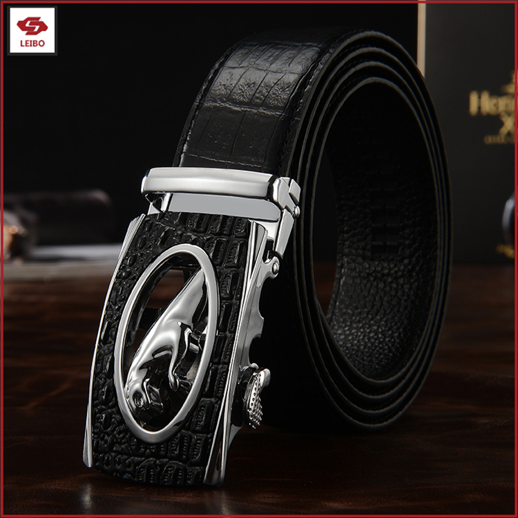 Customized cowhide genuine leather men belts designer changeable automaticl leopard buckle belt