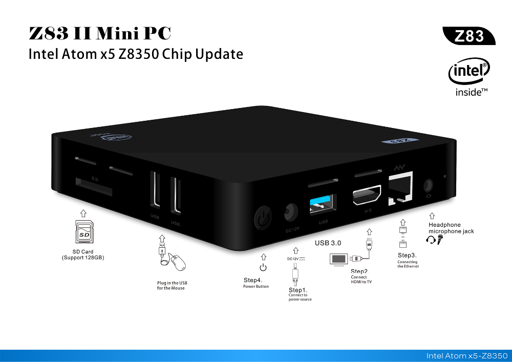 MINI Conputer PC Intel Atom X5-Z8350 With Dual WIFI Digital TV Box Z83II