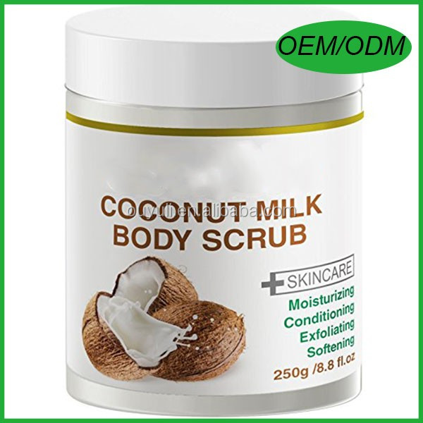 Coconut Milk Body Scrub - with Dead Sea Salt, Almond Oil, Vitamin E- Best For Dry Skin/ Cellulite/ Stretch Mark