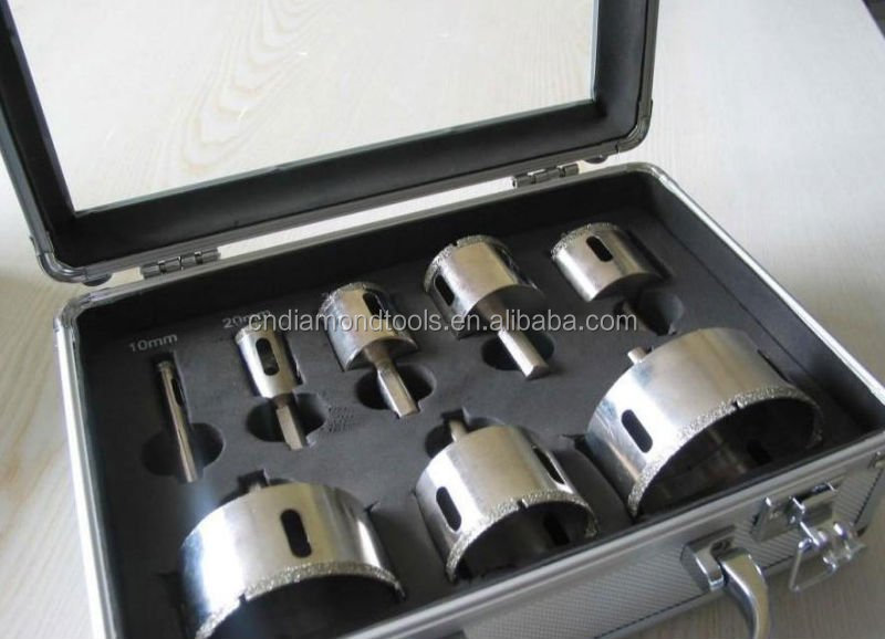 Good quality Electroplated diamond core drill bits set packed in aluminium box