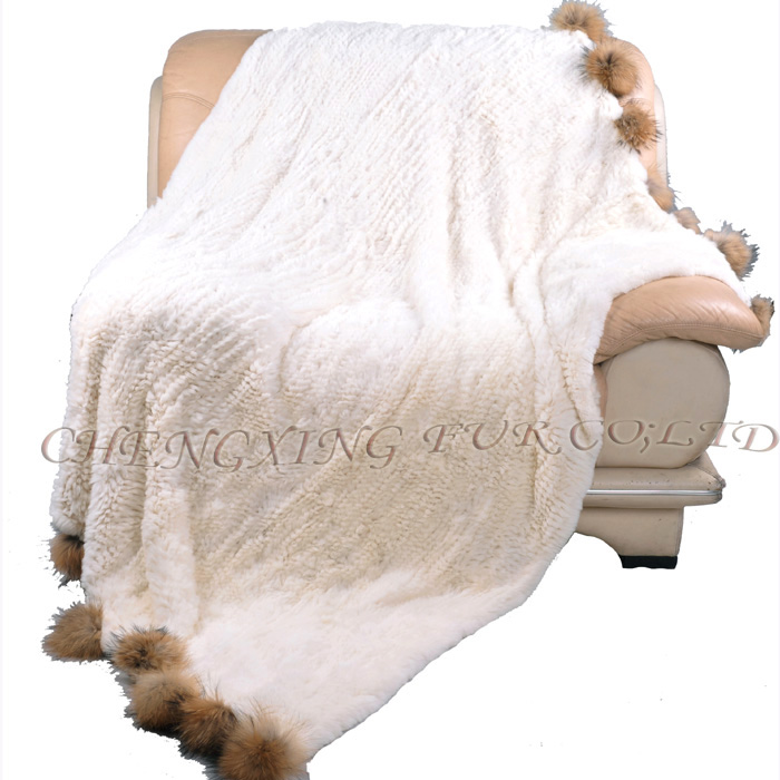 CX-D-108 Hand Knitted Super Cream Real Rex Rabbit Fur Throw Blanket