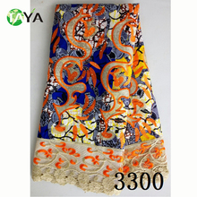 latest design hollandis wax mix lace fabric african dutch wax ankara wax with polyester lace