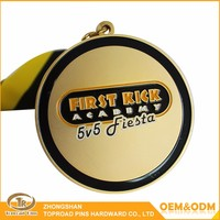 Promotional custom sport awards metal golden medal metal badge
