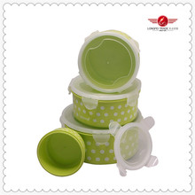 4pcs round food plastic container