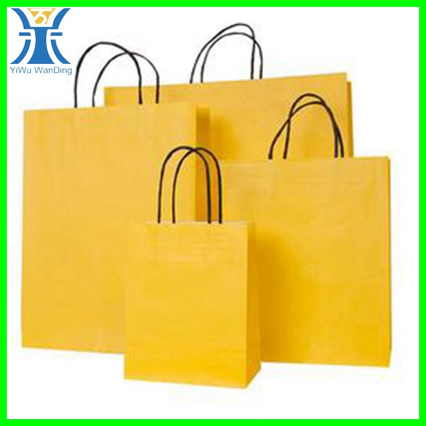 Yiwu yellow kraft shopping package attractive cheapest manufacturing recycle paper bag