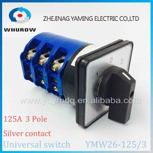 YMW26-125/3 Universal Rotary switch 3 position knob 1-0-2 125A 60V-690V 3 phase High quality changeover cam motor switch