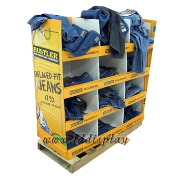 Custom Cardboard Jeans Display Rack / Clothes Display Stand