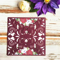 Wine red pearl laser cut luxury wedding cards invitation