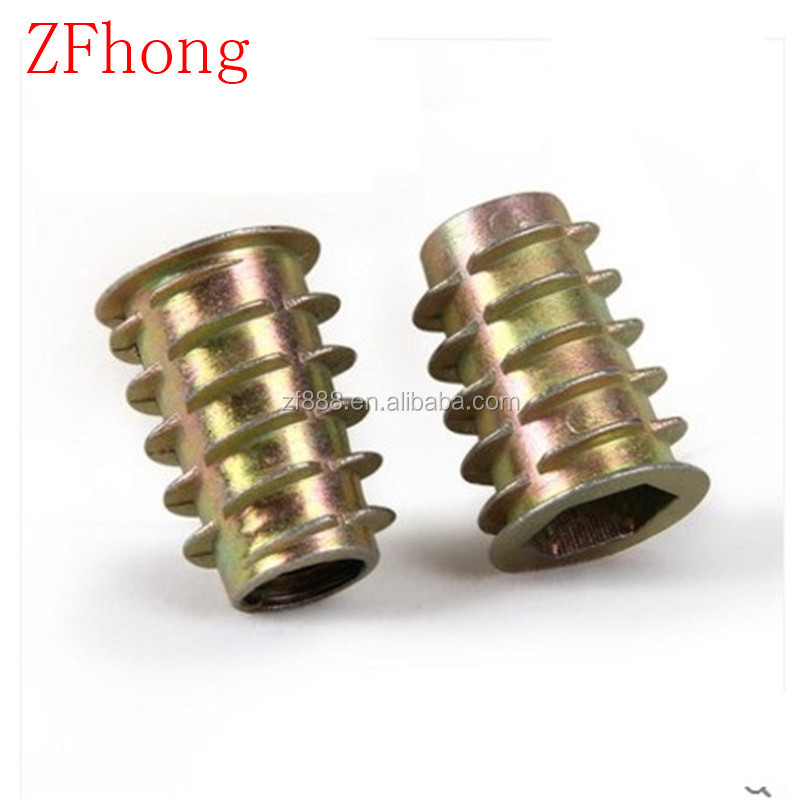 M4 M5 M6 M8 M10 zinc alloy colorful furniture wood insert nut,threaded insert for wood