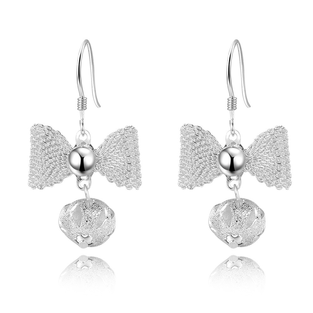 Classic women's Fashion silver plated drop earring butterfly knot ball round net dangle earring
