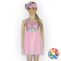 New Model Girl Dress Sequins Sparkly Halter Girls Party Evening Pageant Wedding Flower Dresses Kids Baby Clothes Fashion Dresses