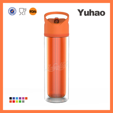 Mixer plastic shaker water bottle with straw