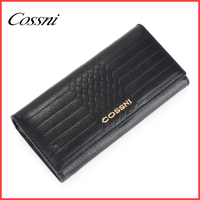 3 fold long wallets with metal logo zipper coin purse, ladies portfolio
